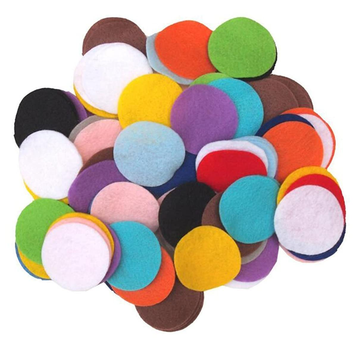 Mixed Colors 500 Pieces Non-Woven Round Shapes DIY Craft Sewing Felt Pads Circles Headdress Flowers Decoration Circles (1.5cm)