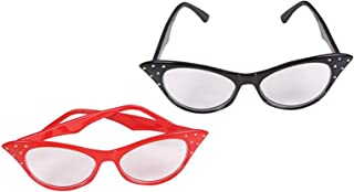 Bottles N Bags Cat Eye Glasses with Rhinestones - Retro Cateye Stylish Glasses for 50s & 60s Costumes