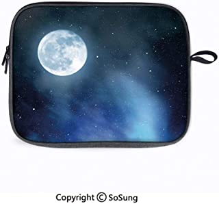 14inch Laptop Sleeve Bags,Night Sky with Stars Full Moon Universe Space Heavenly Bodies Romantic Evening Decorative Laptop Briefcase Compatible with ACER 14 CB3-431/Lenovo ThinkPad T480