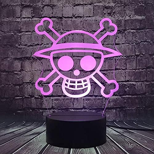 Cráneo cabeza logotipo noche luz Luffy Zoro 3D LED noche lámpara Japón anime Cool Boy colorido escritorio decoración del hogar diseño creativo vacaciones Navidad bebé niño juguete regalo