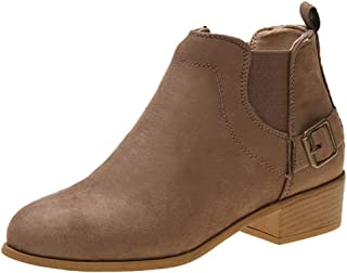 Women Fashion Buckle Short Boots Ankle, Ladies Solid Suede Square Heel Round Toe Boots Winter