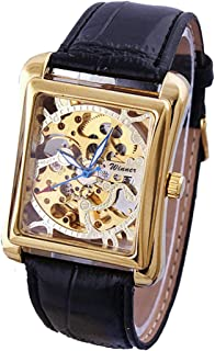 Men and Women Top Luxury Brand Skeleton Wristwatch Stainless Steel Antique Steampunk Square Watch