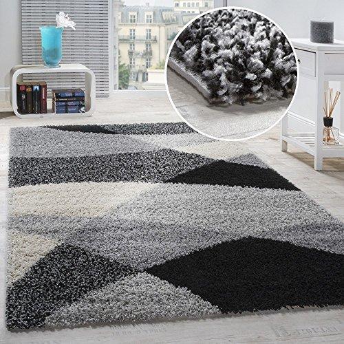 Tappeto Shaggy A Pelo Alto A Pelo Lungo Decorato nei Colori: Grigio Nero Bianco, Dimensione:240x320 cm