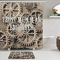 MIMUTI シャワーカーテン バスマット 2点セット Engineering Trust Me Im a Engineer Typography Funny Job Themed Saying on Wheels 自家 寮用 ホテル 間仕切り 浴室 バスルーム 風呂カーテン 足ふきマット 遮光 防水 おしゃれ 12個リング付き
