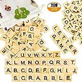 Pinowu Holz Alphabet Scrabble Fliesen Buchstaben (200 Stück) mit Stoff-Geschenktüte für Brettspiele Hochzeit Rahmen Wandkunst Ersatz Handwerk Schmuck Scrapbooking