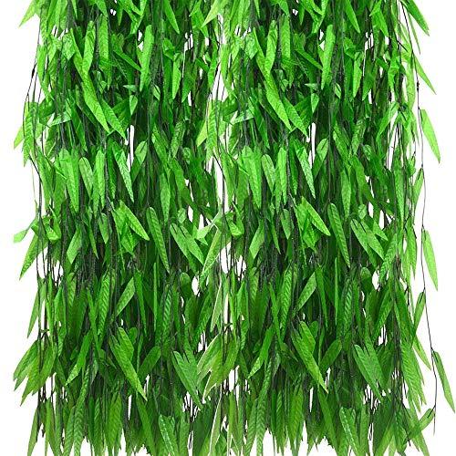 CozofLuv 50Pcs 2.1M Artificial Guirnalda de Hiedra Planta Guirnalda Vines Artificiales Hojas de Guirnalda Planta Guirnalda para Bodas jardín decoración (#1)
