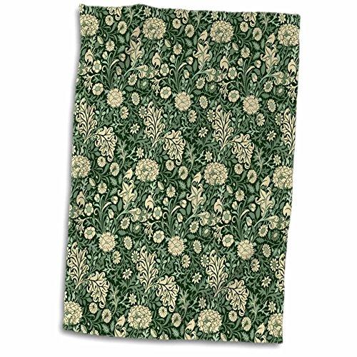 3dRose William Morris Cherwell Chintz-Muster in Waldgrün und Buttermilch Handtuch, Polyester/Baumwolle, Mehrfarbig, 38,1 x 55,9 cm