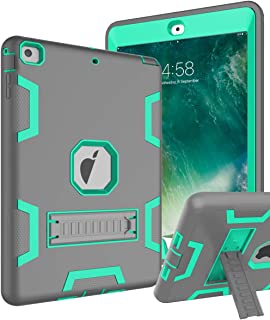 TOPSKY iPad Air Case, iPad A1474/A1475/A1476 Kids Proof Case, Heavy Duty Shockproof Rugged Armor Defender Kickstand Protective Cover Case for iPad Air Grey Green