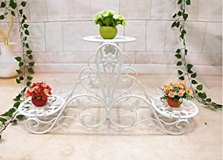 C-J-Xin Indoor Flower Stand, Plant Stand Iron Three Floors Thickened Steel Pipe Does Not Rust Balcony Living Room Garden P...