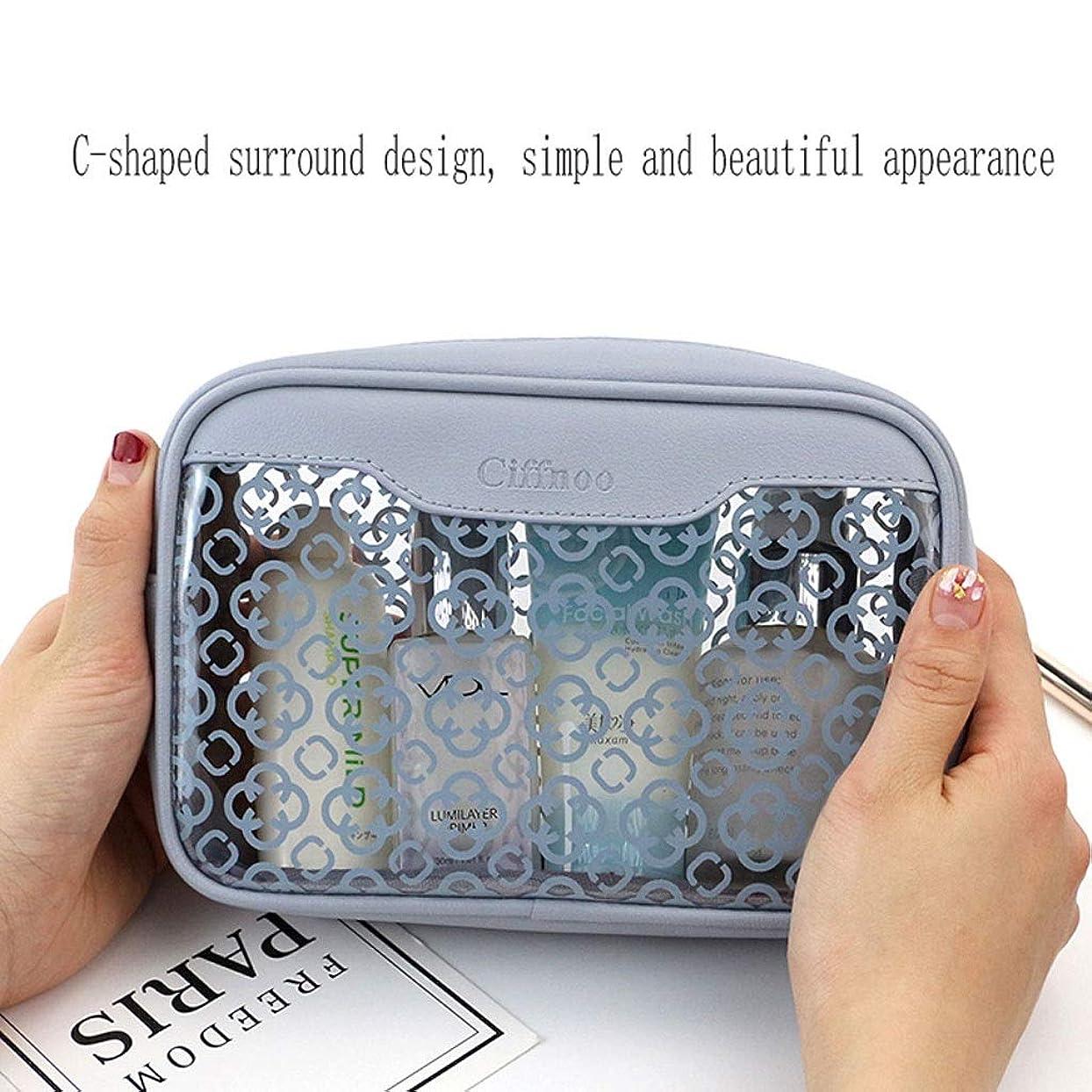 サイズ好戦的な債務FRF 化粧品バッグ- 女性のPVC半透明のシンプルなミニ化粧品ポータブル化粧品洗浄収納袋 (Color : Blue, Size : 18x5x12cm)