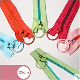 HWZBH Zipper Resin Transparent Toothless Lock Closure Ring-shaped Slider Candy Hit Color (Color : Red)