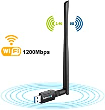 USB WiFi Adapter, AC1200 USB 3.0 Wireless Network Dongle for Desktop/Laptop, Dual Band 2.4GHz/300Mbps+5GHz/867Mbps, Support Windows XP/Vista/7/8/8.1/10,Mac OS X 10.5-10.14