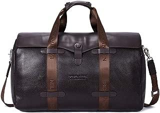 SF Business Men's Travel Bag, Leather Luggage Travel Leather Large-Capacity Handbag, Short-Distance Travel Bag (Color : Brown)