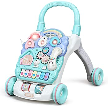 BABY JOY Sit-to-Stand Learning Walker, Kids Activity Center, Entertainment Table w/Lights & Sounds, Music, Detachable Panel, Educational Push Toy for Babies, Toddlers
