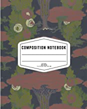 Dark Blue Floral Composition Notebook: Beautiful Wide College Ruled Workbook for Kids Girls, Boys, Students, Teens, Home S...