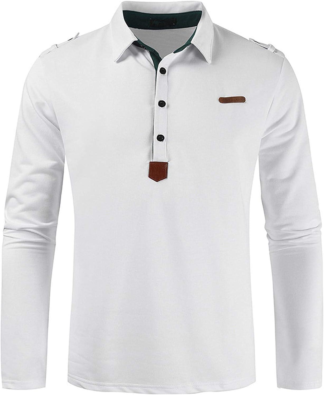 Polo sin Cordones para Hombre de Manga Larga, Camisa de Solapa Antiarrugas sin decoloración Camisa de Ocio Suave de Color sólido