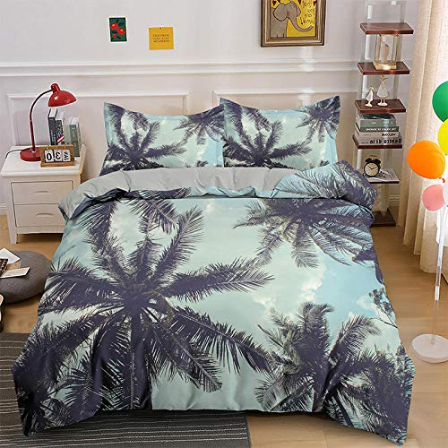 NNDHYS 3D Palm Tree Bedding Set Comforter Cover Scenery Single Double Queen King Size H892 220x260cm