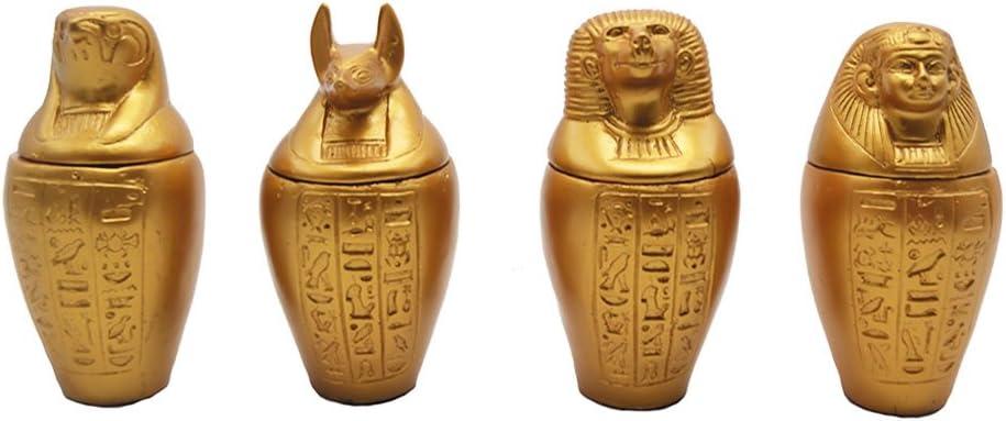 Juego de 4 Vasos canopos Dorados; Amset, Hapi, Duamutef y Kebehsenuf, Son de Piedra Natural y Artificial, Hechos y Pintados a Mano en Egipto. Cada uno Mide Aproximadamente 13 cm de Altura