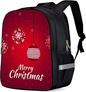 Water Resistant School Backpack, Merry Christmas Simple Ornaments Red Oxford 3D Print College Student Rucksack Daypack for School Camping Travel 33x28x16cm