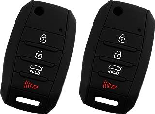 KeyGuardz Keyless Entry Remote Car Key Fob Outer Shell Cover Soft Rubber Protective Case For Kia Hyundai OSLOKA-875T, TQ8-RKE-4F19 (Pack of 2)