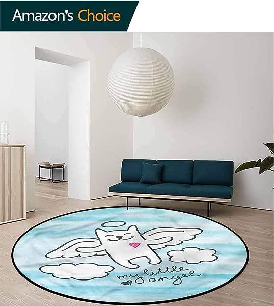 RUGSMAT Kitten Modern Machine Round Bath Mat Cute Cat Angle Wings In Sky Bedroom Home Shaggy Carpet Diameter 24