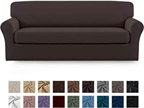 Easy-Going 2 Pieces Microfiber Stretch Sofa Slipcover – Spandex Soft Fitted Sofa Couch Cover, Washable Furniture Protector with Elastic Bottom Kids,Pet (Sofa,Chocolate)