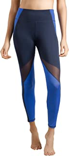 LIN Women's Running Tights Mid-Waist Tummy Control Mesh Leggings for Yoga Training Workout Ankle Length & 3/4 Length