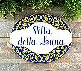 Ced454sy Talavera Placa de cerámica para casa, personalizada, para villa, estilo italiano, placa de dirección personalizada, números de dirección