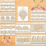 9 Plantillas de Pintura de Mandala Plantillas de Borde de Flores Plantillas de Pared de Mandala Reutilizables Plantillas de Manualidades DIY para Madera Pared Mueble Losas