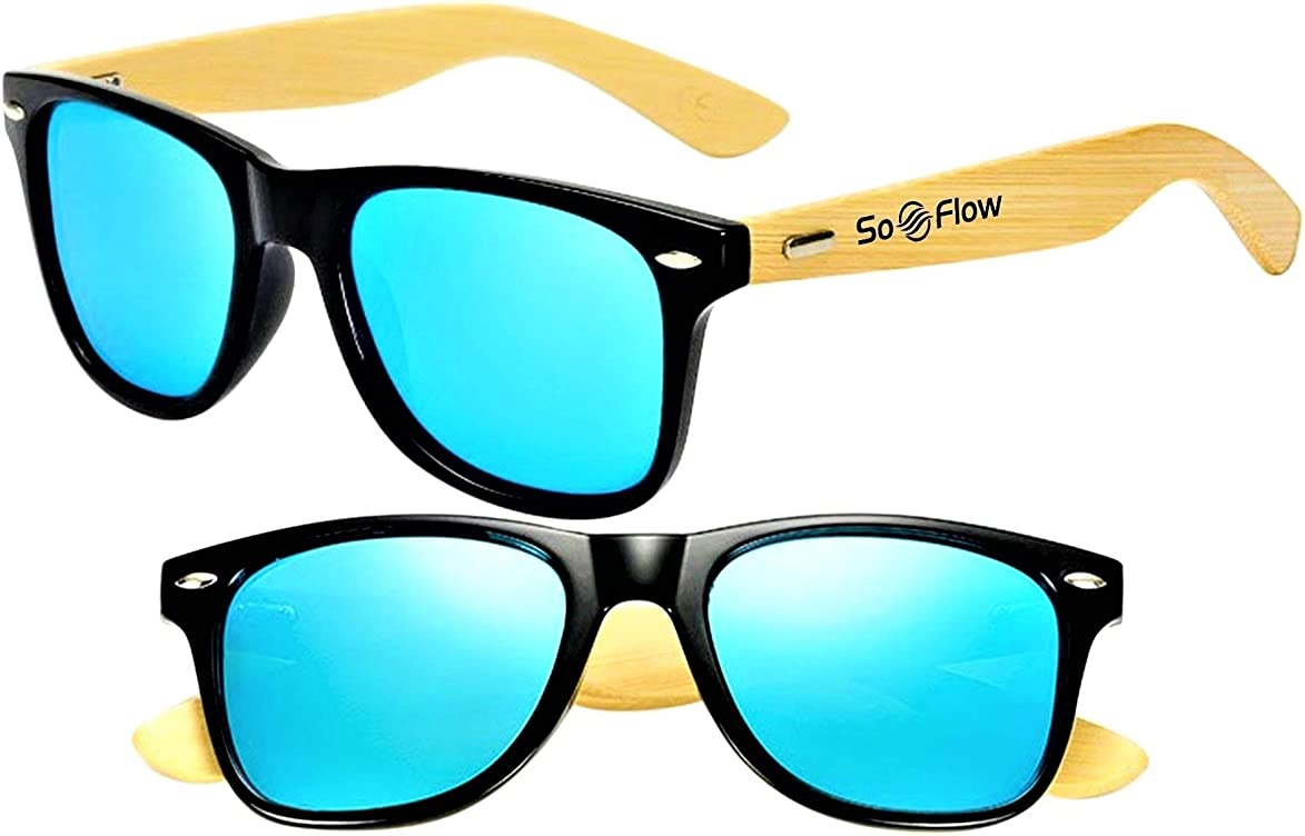 SoFlow Bamboo Wood Sunglasses (Polarized) for Men & Women - Wooden - Large Frame svb520743859495