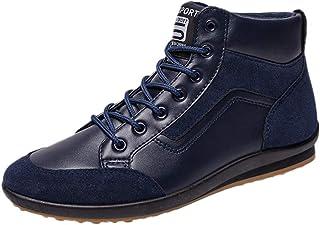 DEELIN Hiver Dernier Style Hommes Mode Rétro Mid-Chaussure Casual Chaussures Lettre Imprimé À Lacets Cheville Bottes Court...