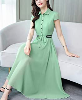 ABDKJAHSDK Large Size M-4Xl Summer New Perspective Collar Short-Sleeved Solid Color Female Chiffon Dress