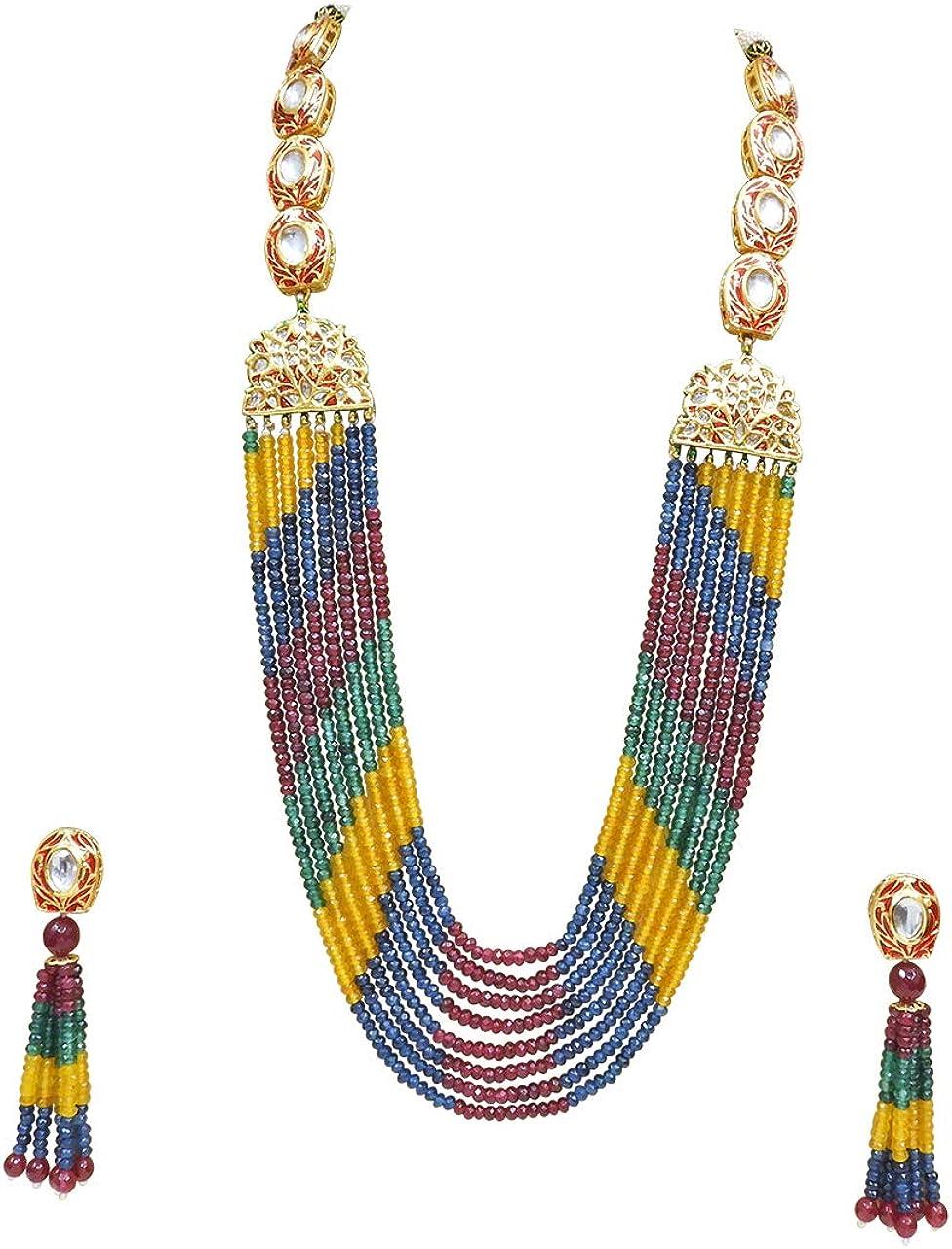Babosa Sakhi Designer Necklace Set Multicolor Onyx Kundan Long Imitation Jewelry