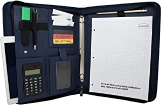 K.DESIGNS A4 Document Folder - The Folder is Made with- Your Ideal Organiser with Zip and Ring Binder to Safely Store Your documents - Perfect as a Conference Folder (Blue)