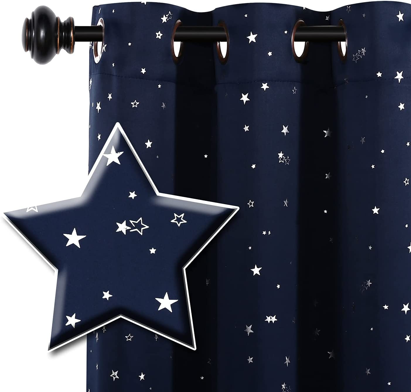 H.VERSAILTEX Blackout Star Curtains for Colorado Springs Mall Room New Orleans Mall Kids Twi Boys Girls