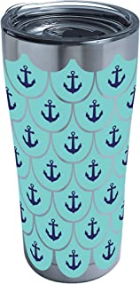 Tervis Anchors & Scallops Pattern Stainless Steel Tumbler with Clear and Black Hammer Lid 20oz, Silver