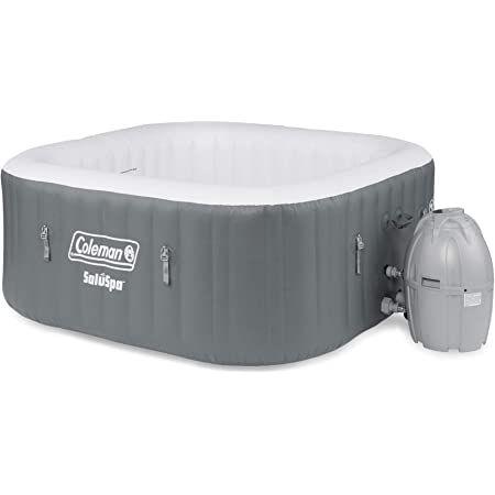 Coleman 15442-BW SaluSpa 4 Person Portable Inflatable Outdoor Square Hot Tub Spa with 114 Air Jets, Cover, Pump, and 2 Filter Cartridges, Gray