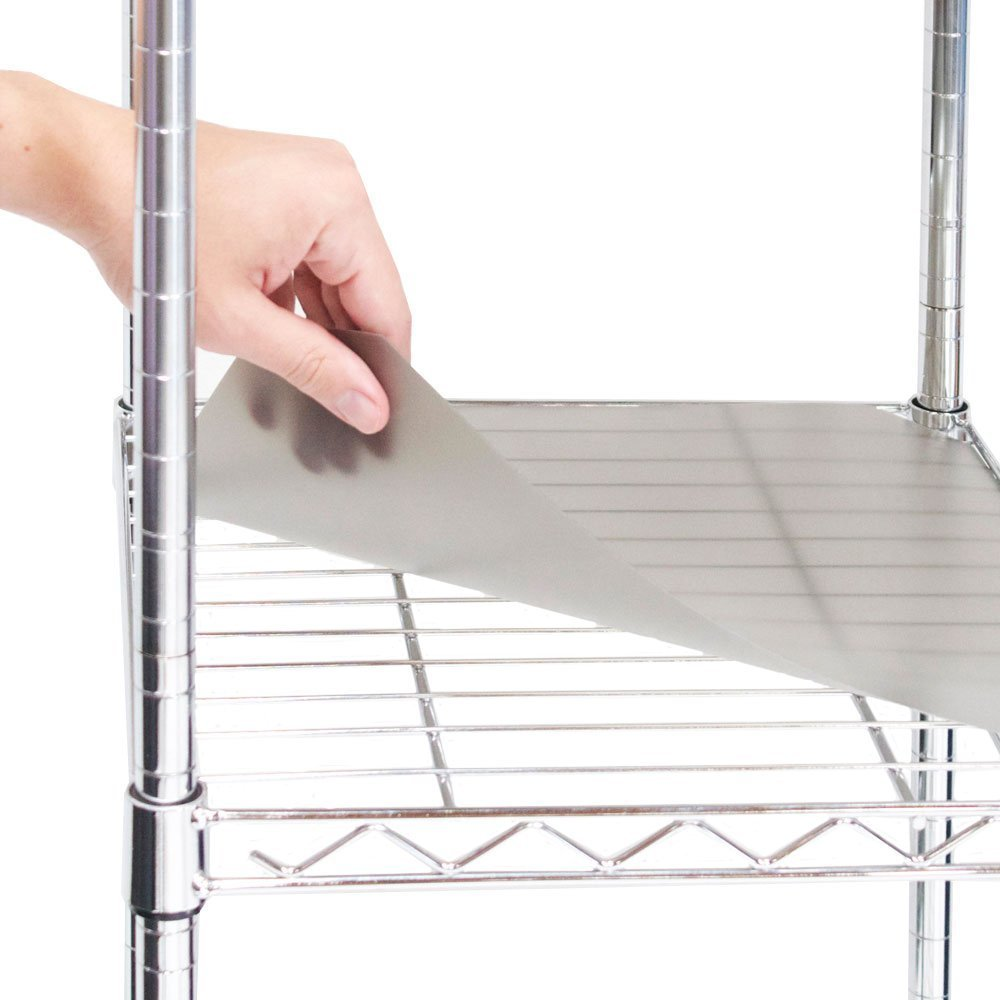 "Seville Classics 2 Individual Smoke Gray Shelf Liners, Designed to Fit 30"" x 14"" Wire Shelves, Grey"