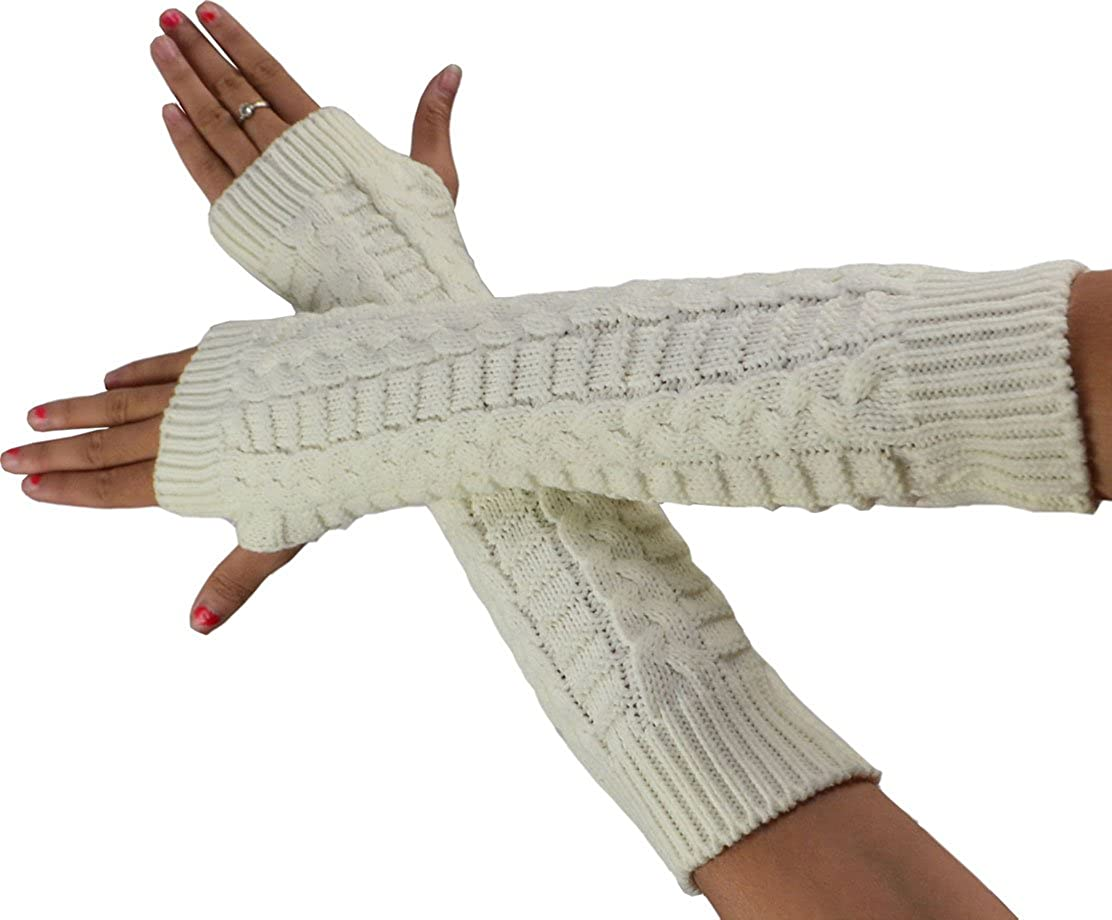 SYAYA Women Knitted Stretchy Fingerless Cold Weather Gloves Long WST05
