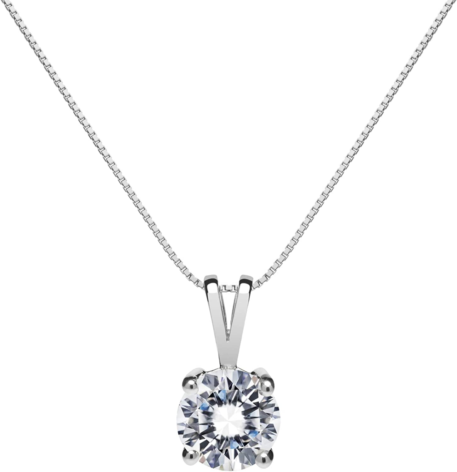 14K Solid White Gold Pendant Ultra-Cheap Deals Round Cut Necklace Popularity Cubic Zirconia