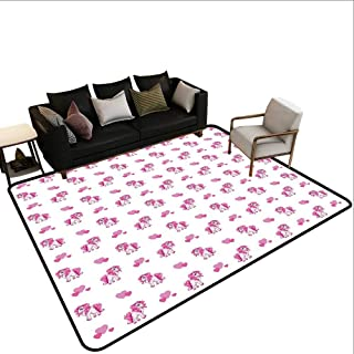 Home Custom Floor mat,Pink Hearts and Magical Pony Horse Kids Girls Design Fairytale Toy Animal Cartoon 6'x8',Can be Used for Floor Decoration