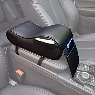 GSPSCN Center Console Armrest Pad Soft Memory Foam Pu Leather with Storage Pockets Seat Cushion (Black)