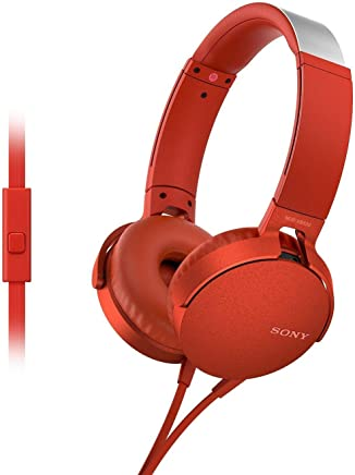 Sony Extra Bass MDR-XB550AP On-Ear \Headphones with Mic (Red)