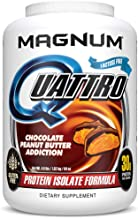 Magnum Nutraceuticals Quattro Protein Powder - Pharmaceutical Grade Protein Isolate - Lactose Free - Gluten Free - Peanut Free (4lb, Chocolate Peanut Butter Addiction)
