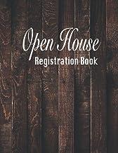 Open House Registration Book: Natural Dark Wood Cover Design-Real Estate Agent Guest & Visitors Signatures Sign In Registr...