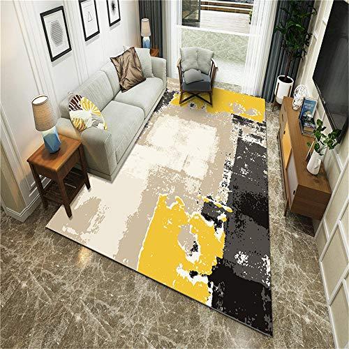 RUGMYW Sin Formaldehído alfombras Pelo Corto Salon Elementos Abstractos Beige marrón Amarillo Gris Negro Alfombra Pasillo 180X280cm
