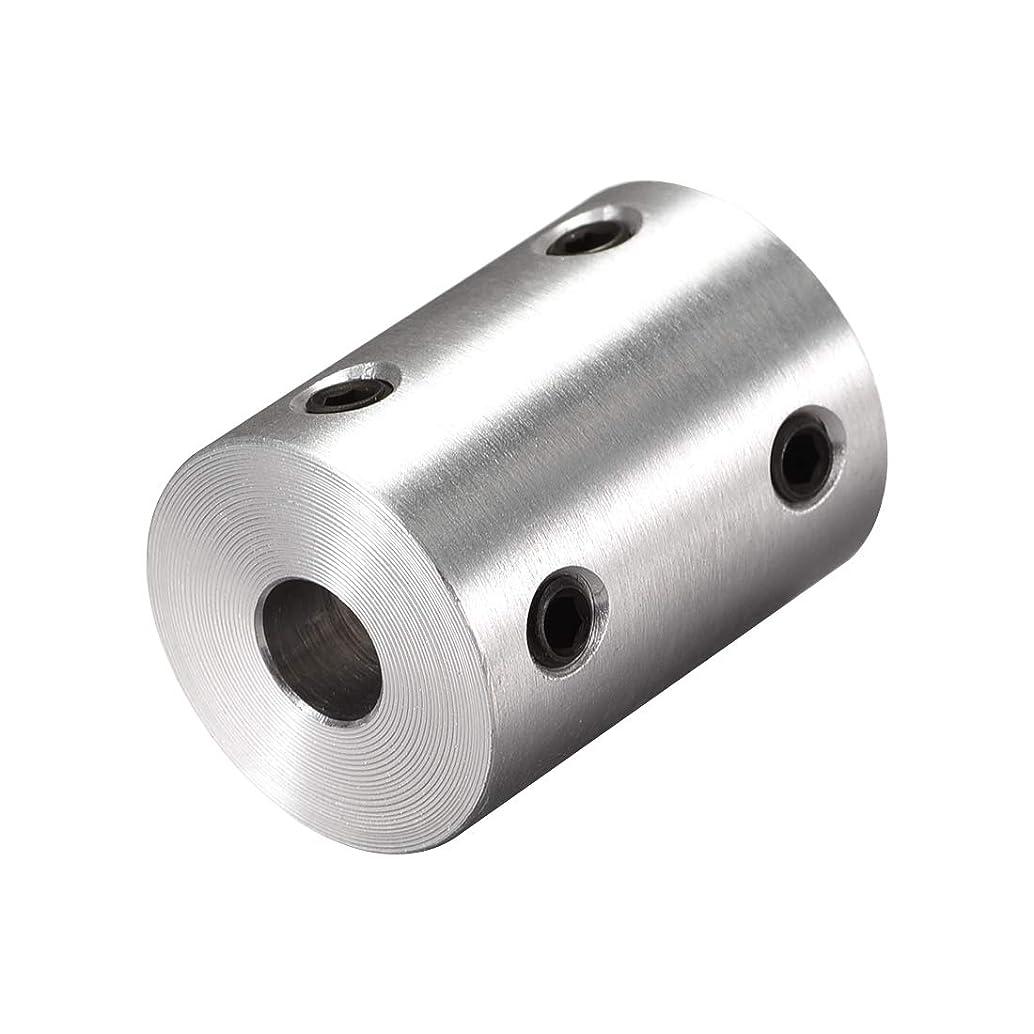 場合生物学ブルーベルuxcell リジッドカップリング 剛性カップリングセット シャフトカプラーコネクター 25mm長さ 19mm直径 6mm-6.35mmボア アルミニウム合金 シルバー