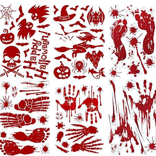 WeyTy 8 Stück Halloween Sticker, Halloween Fensterbilder Gruselig, Schaurig Blutige Realistischer Hand FußAbdruck Kürbis Geist Hexe Aufkleber für Halloween Tür Party Haus Spiegel Garten Fenster Deko