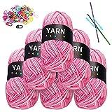 Hilo de ganchillo, 6 x 50 g de lana para tejer, hilo de algodón para manualidades, lana para ganchillo, con 2 agujas de ganchillo, 2 agujas de lana, 20 hebillas, color rosa y blanco