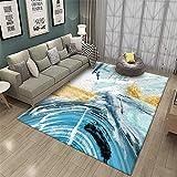 WQ-BBB Alfombra Salon Insonorizar Diseño de Arte Abstracto Negro Azul Gris...